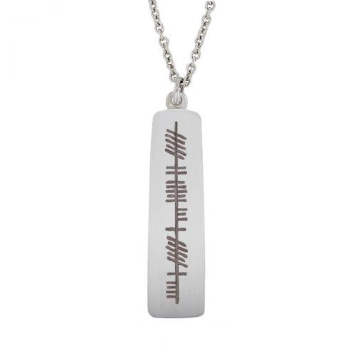 true friend, cara fíor, Faller Ogham Slab pendant, ancient script, talisman, oak twig, sterling silver pendant, secret message, celtic runes, Celtic Tree Alphabet, gaelic, hand-made
