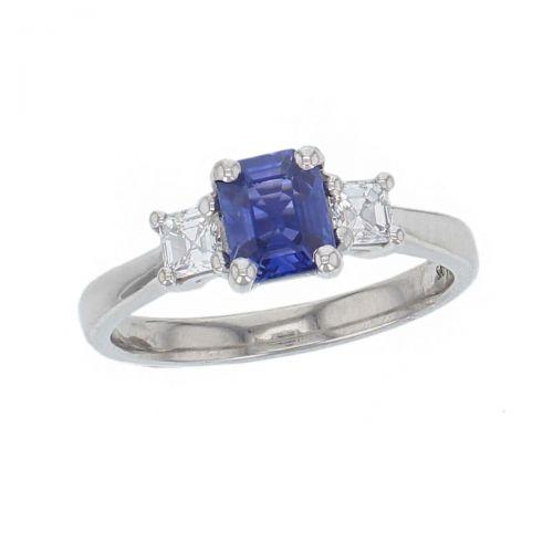 alternative engagement ring, platinum asscher cut diamond & octagon cut blue sapphire trilogy ring designer three stone dress ring handmade by Faller, hand crafted, precious jewellery, jewelry, ladies , woman
