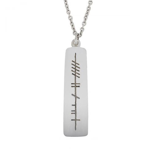 good luck, adh mór Ogham Slab sterling silver pendant, Faller, ancient script, talisman, oak twig secret message, celtic runes, Celtic Tree Alphabet, gaelic, hand-made, pillar