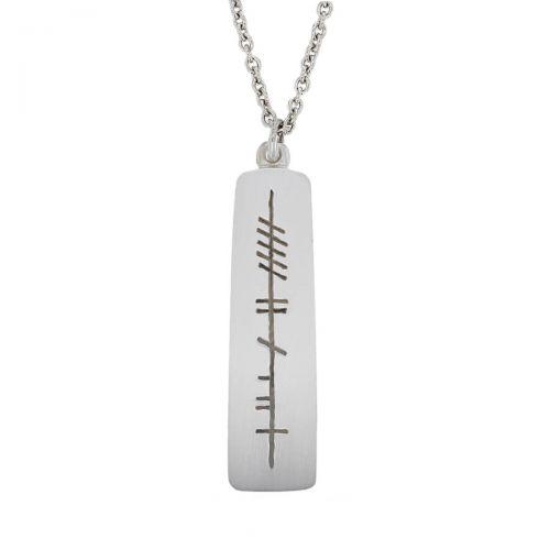 good luck, adh mór Ogham Slab sterling silver pendant, Faller, ancient script, talisman, oak twig secret message, celtic runes, Celtic Tree Alphabet, gaelic, hand-made, pillar