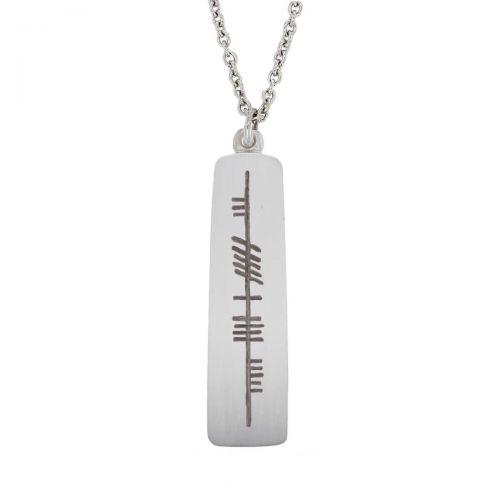 Strength - Neart Faller Ogham Slab, ancient script, talisman, oak twig, sterling silver pendant, secret message, celtic runes, Celtic Tree Alphabet, gaelic, hand-made, pillar
