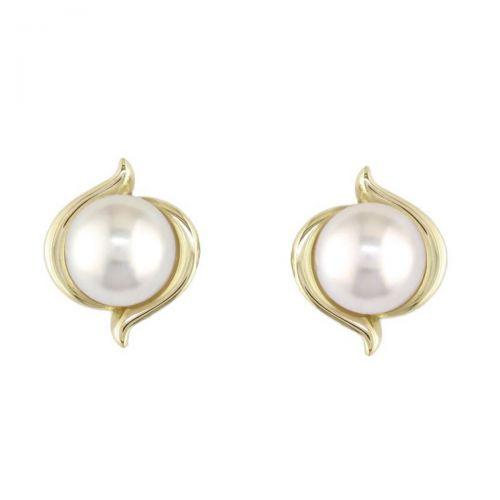 6.5mm white saltwater Acoya pearls 18ct yellow gold ladies stud earrings. 18kt, designer, handmade by Faller, hand crafted, precious pearl jewellery, jewelry, hand crafted