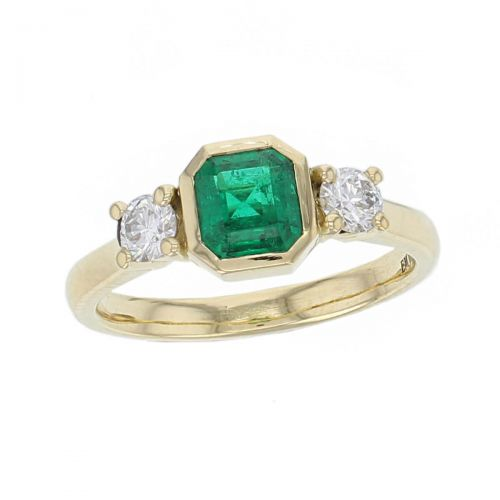 alternative engagement ring, 18ct yellow gold, round brilliant cut diamond & octagon cut emerald trilogy ring designer three stone dress ring handmade by Faller, hand crafted, precious jewellery, jewelry, ladies , woman