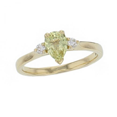 alternative engagement ring, 18ct yellow gold round brilliant cut diamond & pear cut green sapphire trilogy ring designer three stone dress ring handmade by Faller, hand crafted, precious jewellery, jewelry, ladies , woman