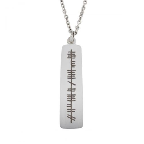 Forever Yours, Go deo mise, Ogham Slab sterling silver pendant, Faller, ancient script, talisman, oak twig secret message, celtic runes, Celtic Tree Alphabet, gaelic, hand-made, pillar