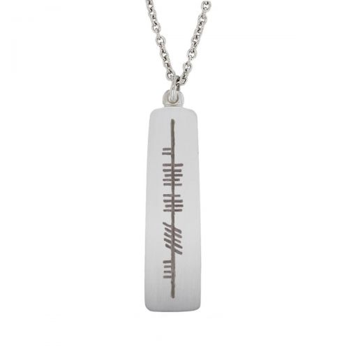 believe, creid, Ogham Slab sterling silver pendant, Faller, ancient script, talisman, oak twig secret message, celtic runes, Celtic Tree Alphabet, gaelic, hand-made, pillar
