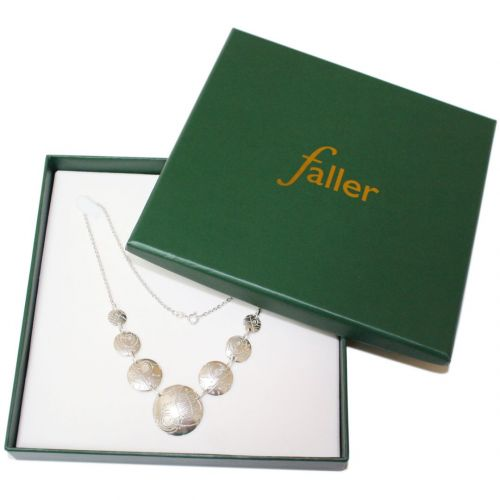 silver necklace box, Faller necklace packaging, Faller gift box, Isle of Doagh Rock art gift box