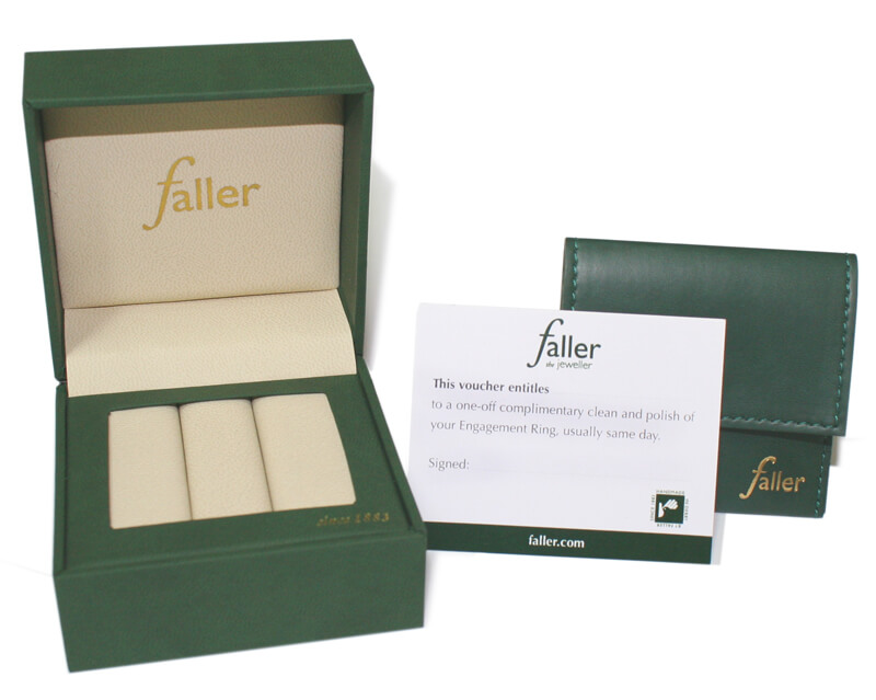 Faller wedding ring packaging, presentation box, polishing voucher, double ring pouch, double ring box