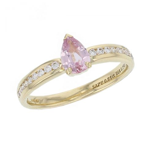 18ct yellow gold pear cut pink sapphire gemstone & diamond dress ring, designer jewellery, organic gem, jewelry, handmade by Faller, Londonderry, Northern Ireland, Irish hand crafted, claw set, rim set