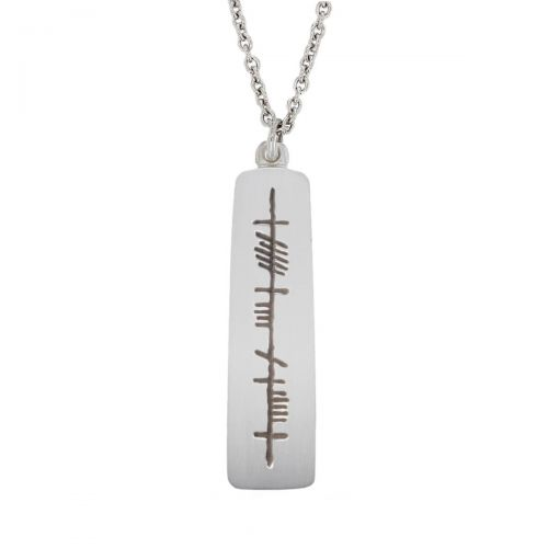 Anam Cara, soulmate Ogham Slab sterling silver pendant, Faller, ancient script, talisman, oak twig secret message, celtic runes, Celtic Tree Alphabet, gaelic, hand-made, pillar, soul friend