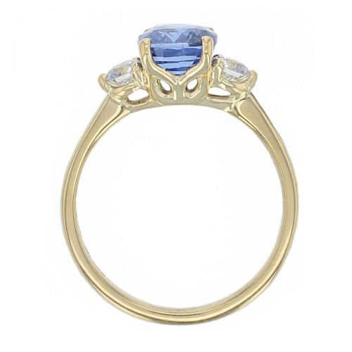 alternative engagement ring, 18ct yellow gold round brilliant cut diamond & cushion cut blue sapphire trilogy ring designer three stone dress ring handmade by Faller, hand crafted, precious jewellery, jewelry, ladies , woman