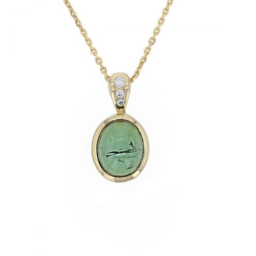 Faller oval cut cabochon green tourmaline gemstone & diamond 18ct yellow gold ladies pendant with chain, 18kt, designer, handmade by Faller, Derry/ Londonderry, hand crafted, precious tourmaline gem jewellery, jewelry