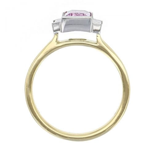 Art Deco style ring, vinatge style ring, trilogy ring, pink stone ring, baguette diamonds, morganute yellow gold, platinum, designer ring,