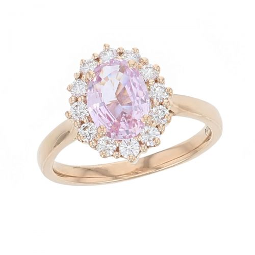 alternative engagement ring, 18ct rose gold ladies oval cut padparadscha sapphire & diamond designer cluster engagement ring designed & hand crafted by Faller of Derry/ Londonderry, opulent, lavish dress ring, cocktail ring, precious jewellery, jewelry, pink gem