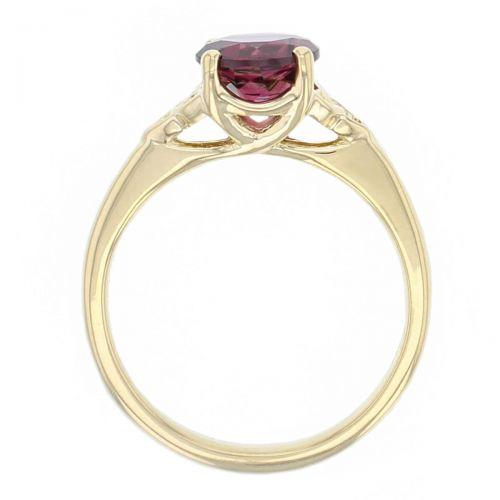 18ct yellow gold purple oval cut faceted rhodolite garnet gemstone dress ring, designer jewellery, gem, jewelry, handmade by Faller, Londonderry, Northern Ireland, Irish hand crafted, celtic, trinity symbol, red gem