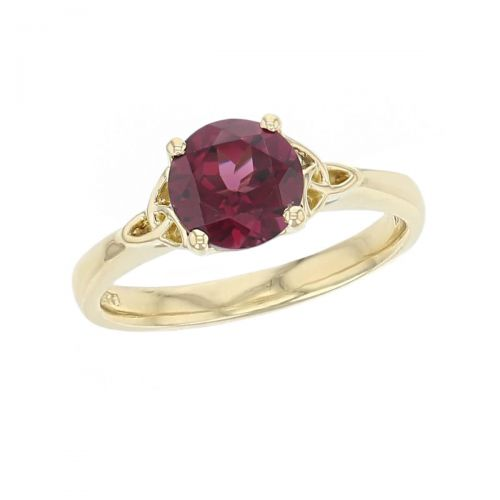 18ct yellow gold purple oval cut faceted rhodolite garnet gemstone dress ring, designer jewellery, gem, jewelry, handmade by Faller, Londonderry, Northern Ireland, Irish hand crafted, celtic, trinity symbol, red gem