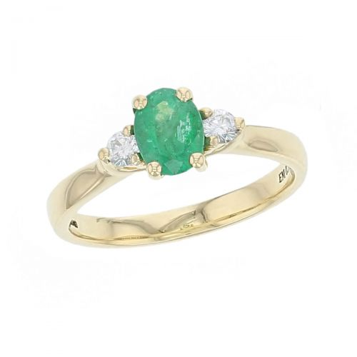 18ct yellow gold, round brilliant cut diamond & oval cut emerald trilogy ring designer three stone dress ring handmade by Faller, hand crafted, precious jewellery, jewelry, ladies , woman