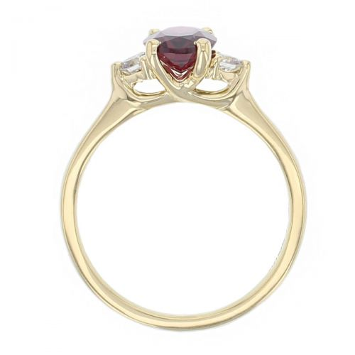 18ct yellow gold, round brilliant cut diamond & oval cut rhodolite garnet trilogy ring designer three stone dress ring handmade by Faller, hand crafted, precious jewellery, jewelry, ladies , woman, purple gem, red gem ring