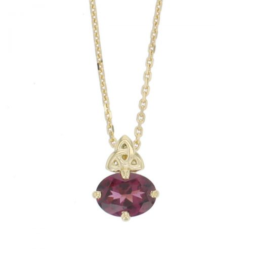 18ct yellow gold purple oval cut faceted rhodolite garnet gemstone pendant, designer jewellery, gem, jewelry, handmade by Faller, Londonderry, Northern Ireland, Irish hand crafted, celtic, trinity symbol, red gem pendant, january birthstone jewellery