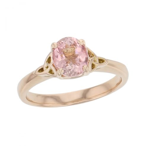 18ct rose gold pink oval cut faceted tourmaline gemstone dress ring, designer jewellery, gem, jewelry, handmade by Faller, Londonderry, Northern Ireland, Irish hand crafted, celtic, trinity symbol