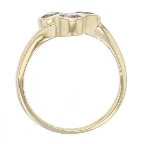 Kandy 18ct yellow gold pink, blue, green oval rose cut sapphire gemstone ladies dress ring, designer jewellery, gem, jewelry, handmade by Faller, Londonderry, Northern Ireland, Irish hand crafted, three stone