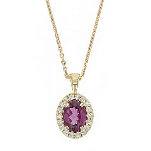 Faller oval cut pink, purple rhodolite garnet gemstone & diamond halo 18ct yellow gold ladies pendant with chain, 18kt, designer, handmade by Faller, Derry/ Londonderry, hand crafted, precious jewellery, jewelry, january birthstone jewellery