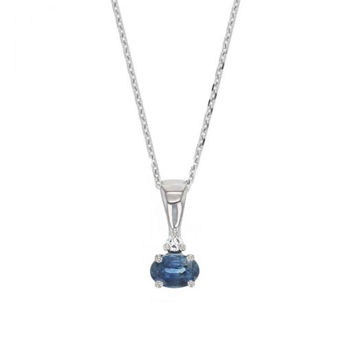 blue sapphire & diamond 18ct white gold ladies pendant with chain, 18kt, designer, handmade by Faller, Derry/ Londonderry, hand crafted, precious jewellery, september birthstone, jewelry