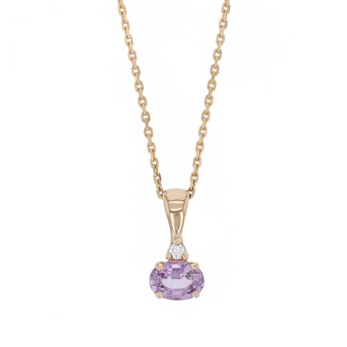 pink sapphire & diamond 18ct rose gold ladies pendant with chain, 18kt, designer, handmade by Faller, Derry/ Londonderry, hand crafted, precious jewellery, september birthstone, jewelry