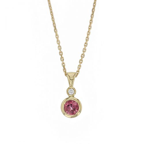 pink sapphire & diamond 18ct yellow gold ladies pendant with chain, 18kt, designer, handmade by Faller, Derry/ Londonderry, hand crafted, precious jewellery, september birthstone, jewelry