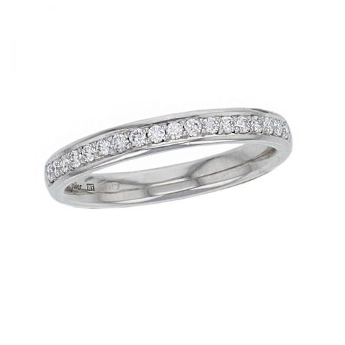 2.8mm wide platinum ladies round brilliant cut diamond eternity ring, personalised engraving, court profile, comfort fit, precious jewellery by Faller of Derry/ Londonderry, jewelry, grain set