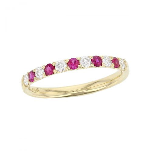 18ct yellow gold round brilliant cut diamond & ruby eternity ring designer dress ring handmade by Faller, hand crafted, precious jewellery, jewelry, ladies , woman