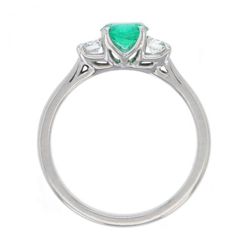 platinum, round brilliant cut diamond & round cut emerald trilogy ring designer three stone dress ring handmade by Faller, hand crafted, precious jewellery, jewelry, ladies , woman