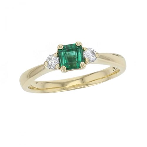 18ct yellow gold, round brilliant cut diamond & octagon cut emerald trilogy ring designer three stone dress ring handmade by Faller, hand crafted, precious jewellery, jewelry, ladies , woman, emerald cut