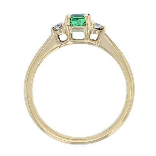 18ct yellow gold, round brilliant cut diamond & octagon cut emerald trilogy ring designer three stone dress ring handmade by Faller, hand crafted, precious jewellery, jewelry, ladies , woman, emerald cut
