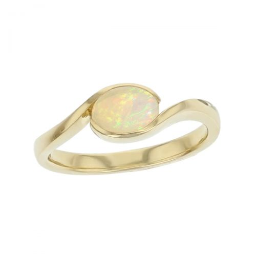 opal 18ct yellow gold ladies dress ring. 18kt, designer, handmade by Faller, hand crafted, precious jewellery, jewelry, hand crafted