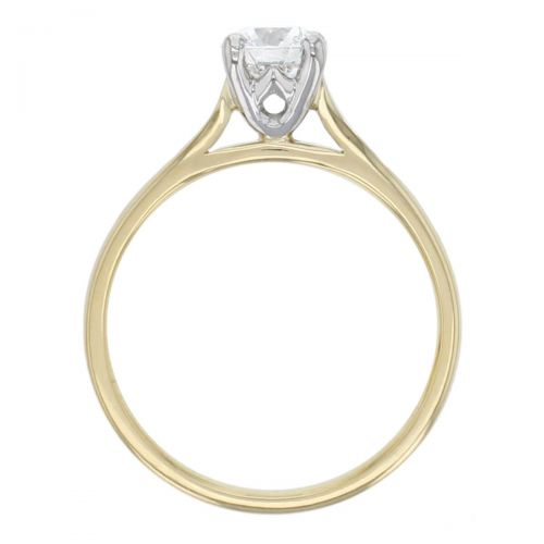 round brilliant cut diamond solitaire engagement ring, platinum & 18ct yellow gold, 18kt, designer, handmade by Faller, hand crafted, betrothal, promise, precious jewellery, jewelry, hand crafted, GIA certified, , G.I.A. GIA, 4 claw setting