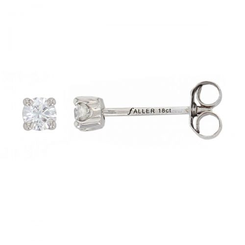 Faller round brilliant cut 4 claw set diamond 18ct white gold ladies solitaire earrings, 18kt, designer, handmade by Faller, Derry/ Londonderry, hand crafted, precious jewellery, jewelry
