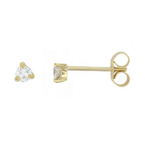 Faller round brilliant cut 3 claw set diamond 18ct yellow gold ladies solitaire earrings, 18kt, designer, handmade by Faller, Derry/ Londonderry, hand crafted, precious jewellery, jewelry
