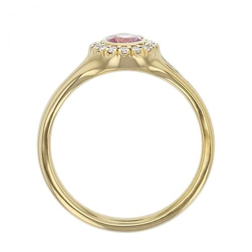 18ct yellow gold oval cut pink sapphire gemstone & diamond dress ring, designer jewellery, organic gem, jewelry, handmade by Faller, Londonderry, Northern Ireland, Irish hand crafted, claw set, rim set