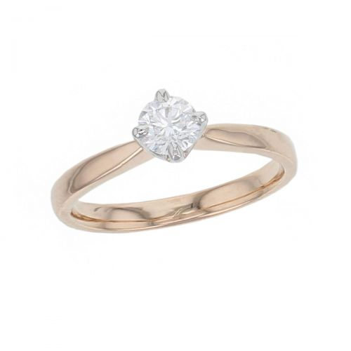 round brilliant cut diamond solitaire engagement ring, platinum & 18ct rose gold, 18kt, designer, handmade by Faller, hand crafted, betrothal, promise, precious jewellery, jewelry, hand crafted, GIA certified, , G.I.A. GIA, 4 claw setting