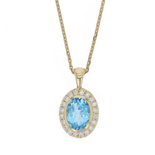 Faller oval cut blue topaz gemstone & diamond halo 18ct yellow gold ladies pendant with chain, 18kt, designer, handmade by Faller, Derry/ Londonderry, hand crafted, precious jewellery, jewelry