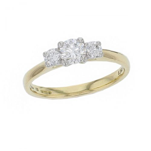 round cut diamond trilogy engagement ring, platinum &18ct yellow gold, designer, handmade by Faller, hand crafted, betrothal, promise, precious jewellery, jewelry, GIA certified, hand crafted, G.I.A. GIA, three stone