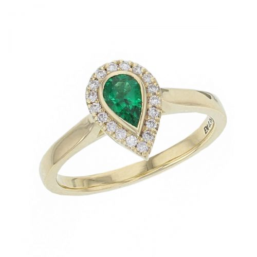18ct yellow gold ladies pear cut emerald & diamond designer cluster ring designed & hand crafted by Faller of Derry/ Londonderry, halo dress ring, precious green gem jewellery, jewelry