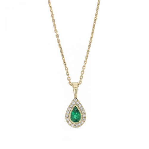 Faller oval cut emerald gemstone & diamond halo 18ct yellow gold ladies pendant with chain, 18kt, designer, handmade by Faller, Derry/ Londonderry, hand crafted, precious green gem jewellery, jewelry