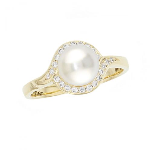 Akoya pearl & diamond 18ct yellow gold ladies dress ring. 18kt, designer, handmade by Faller, hand crafted, precious jewellery, jewelry, hand crafted