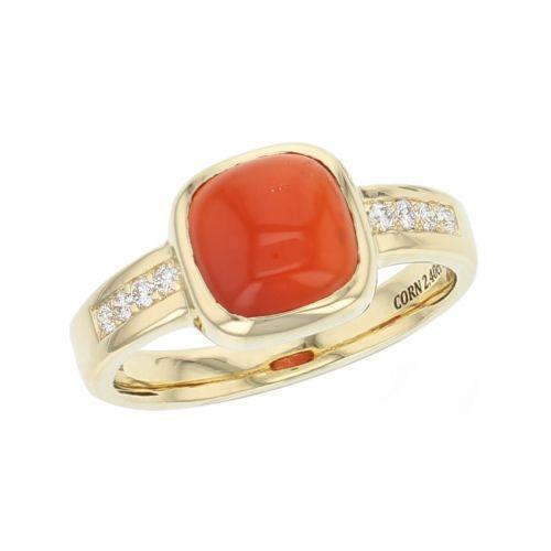 18ct yellow gold & diamond orange cushion cut cabochon carnelian gemstone dress ring, designer jewellery, quartz gem, jewelry, handmade by Faller, Londonderry, Northern Ireland, Irish hand crafted,