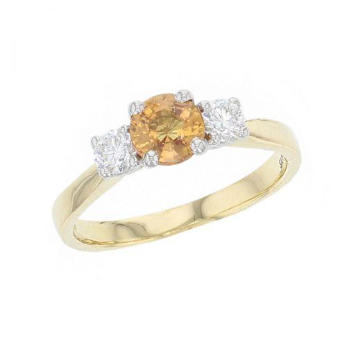 18ct yellow gold & platinum, round brilliant cut diamond & round cut orange sapphire trilogy ring designer three stone dress ring handmade by Faller, hand crafted, precious jewellery, jewelry, ladies , woman