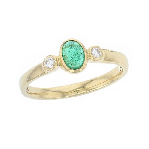 alternative engagement ring, 18ct yellow gold ladies oval cut cabochon emerald & diamond designer trilogy ring designed & hand crafted by Faller of Derry/ Londonderry, trilogy dress ring, precious green gem jewellery, jewelry