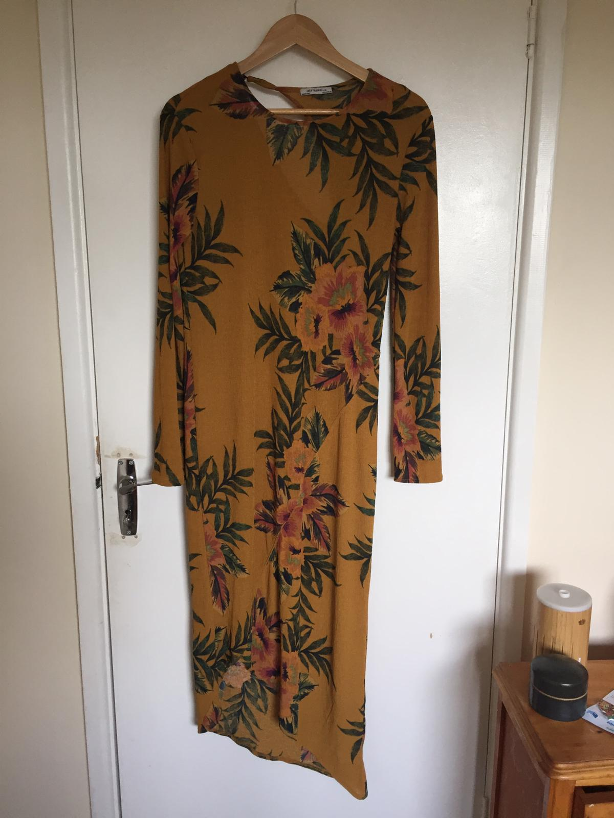 Image of Zara Trafaluc Yellow floral dress