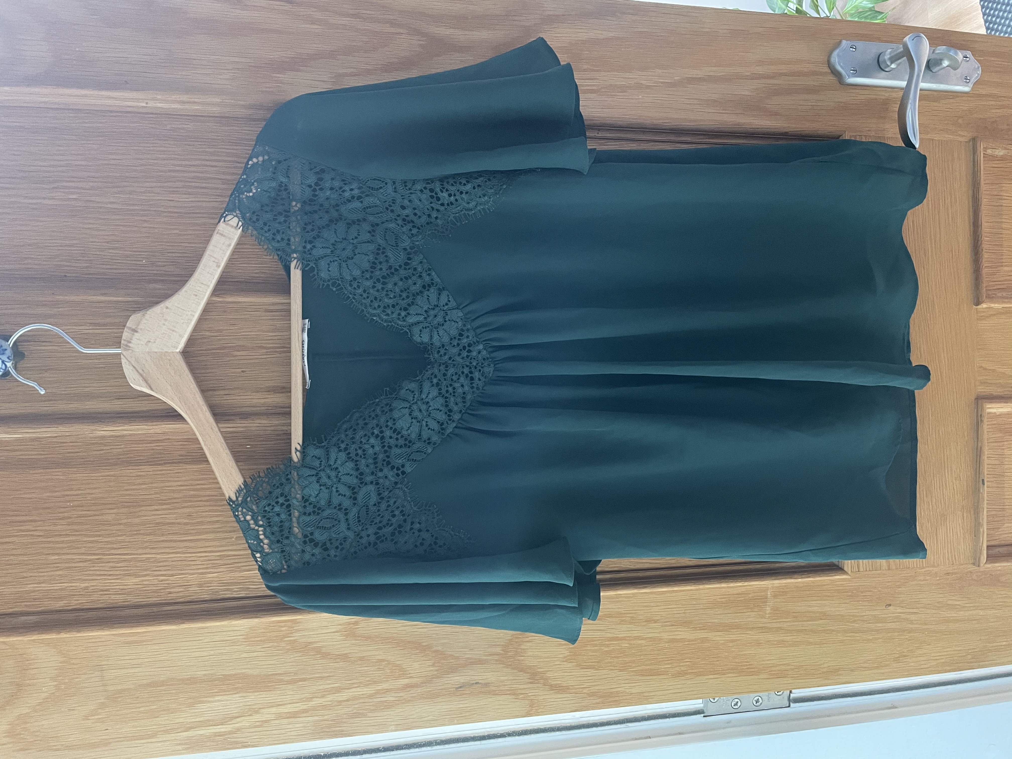 Image of Zara Green lace detail top